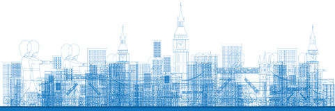 Outline London skyline with blue buildings. Stock Images