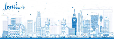 Outline London Skyline with Blue Buildings. Royalty Free Stock Image