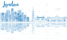 Outline London skyline with blue skyscrapers and reflections. Royalty Free Stock Images