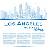 Outline Los Angeles Skyline with Blue Buildings and copy space Royalty Free Stock Photography
