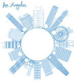 Outline Los Angeles Skyline with Blue Buildings and copy space Stock Photo