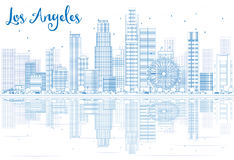 Outline Los Angeles skyline with blue buildings and reflections. Royalty Free Stock Images