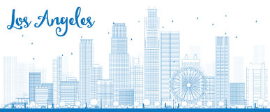 Outline Los Angeles Skyline with Blue Buildings. Stock Images