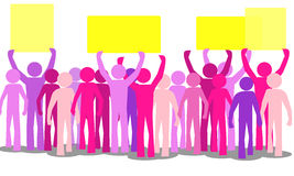 Outline lots of colorful furious people protesting Royalty Free Stock Photos