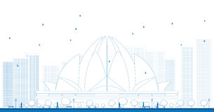 Outline The Lotus Temple, located in New Delhi, India Royalty Free Stock Photo