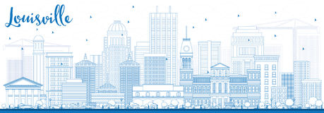 Outline Louisville Skyline with Blue Buildings. Stock Photo