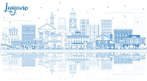 Outline Lugano Switzerland Skyline With Blue Buildings And Reflections. Stock Images