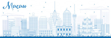 Outline Macau Skyline with Blue Buildings. Stock Photos