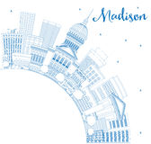 Outline Madison Skyline with Blue Buildings and Copy Space. Stock Image