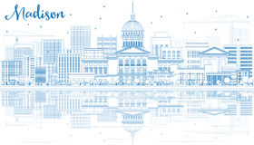Outline Madison Skyline with Blue Buildings and Reflections. Royalty Free Stock Photography