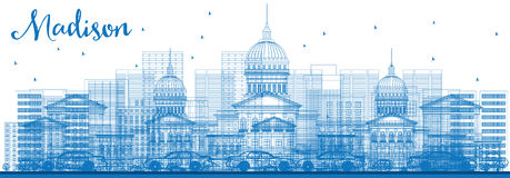 Outline Madison Skyline with Blue Buildings. Stock Photography