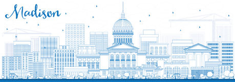 Outline Madison Skyline with Blue Buildings. Royalty Free Stock Images