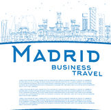 Outline Madrid Skyline with blue buildings and copy space Royalty Free Stock Image