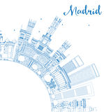 Outline Madrid Skyline with Blue Buildings and Copy Space. Stock Photography