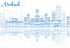 Outline Madrid Skyline with blue buildings reflections. stock illustration