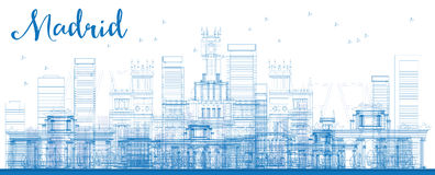 Outline Madrid Skyline with blue buildings. Vector illustration. Business travel and tourism concept with historic buildings. Image for presentation, banner royalty free illustration