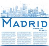 Outline Madrid Spain City Skyline with Blue Buildings and Copy S stock illustration
