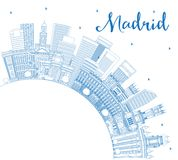 Outline Madrid Spain City Skyline with Blue Buildings and Copy S vector illustration