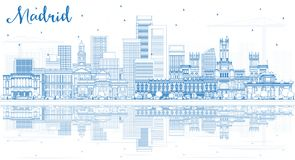 Outline Madrid Spain City Skyline with Blue Buildings and Reflections. royalty free illustration