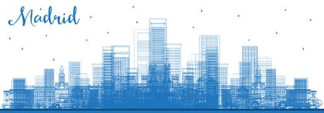 Outline Madrid Spain City Skyline with Blue Buildings royalty free illustration