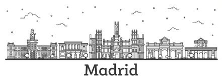 Outline Madrid Spain City Skyline with Historic Buildings Isolated on White. stock illustration