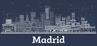 Outline Madrid Spain City Skyline with White Buildings vector illustration