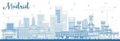Outline Madrid Spain Skyline with Blue Buildings. royalty free illustration