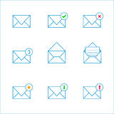Outline mail icons Stock Image