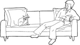 Outline of Man Asleep with Scratching Cat. Outline cartoon of cat on sofa with sleeping man Stock Image