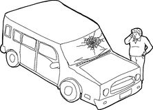 Outline of Man and Damaged Vehicle Stock Image