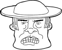 Outline of Man in Hat. Hand drawn outline of angry Asian man Royalty Free Stock Image