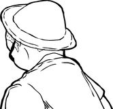 Outline of Man in Hat Looking Away Royalty Free Stock Images