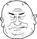 Outline of Man Sneering. Isolated cartoon outline of bald man sneering Stock Image
