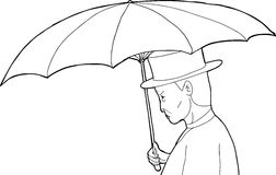 Outline of Man with Umbrella Royalty Free Stock Photography