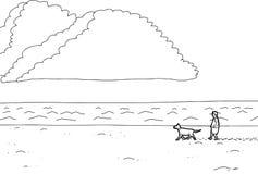 Outline of Man Walking Dog on Beach. Cartoon outline of man walking dog along ocean beach Stock Image