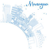 Outline Managua Skyline with Blue Buildings and Copy Space. Stock Image