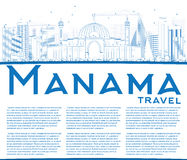 Outline Manama Skyline with Blue Buildings and Copy Space. Royalty Free Stock Images