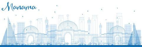 Outline Manama Skyline with Blue Buildings. Royalty Free Stock Photos