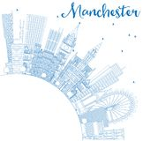 Outline Manchester England City Skyline with Blue Buildings and Stock Photography