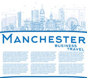 Outline Manchester Skyline with Blue Buildings and Copy Space. Stock Photos