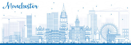 Outline Manchester Skyline with Blue Buildings. Royalty Free Stock Image