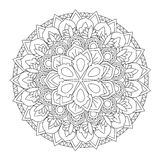 Outline Mandala for coloring book. Decorative round ornament. Stock Image