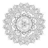 Outline Mandala for coloring book. Decorative round ornament. Stock Photos
