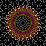 Outline mandala in purple, white and green on black background Royalty Free Stock Photo
