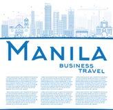 Outline Manila Skyline with Blue Buildings. Stock Photo
