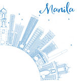 Outline Manila Skyline with Blue Buildings. Royalty Free Stock Photo