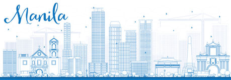 Outline Manila Skyline with Blue Buildings. Stock Images