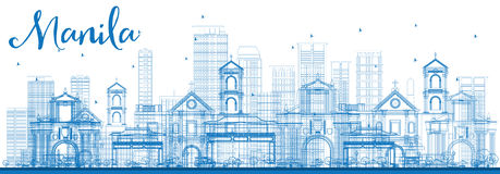 Outline Manila Skyline with Blue Buildings. vector illustration