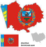 Outline map of Altai krai with flag. Regions of Russia. Vector illustration Royalty Free Stock Photo