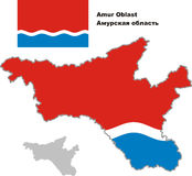 Outline map of Amur Oblast with flag Stock Photo
